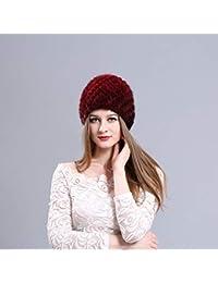 Sombrero de Piel de visón Mujer Invierno Mullido Gorro de Punto Cálido  Esquí Sombreros de piña bcf6c9f268c4