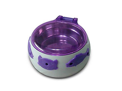 Aquarialand 13.1.79.002 Magic Cat Box Ciotola per Gatti con Apertura Automatica a 5 Sens, 12.5cm Ø, 6.5H cm, Bianco e Viola