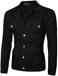 Allegra K Hommes Rabat Poitrine Poches Veste Droite Front Jeans Vestes