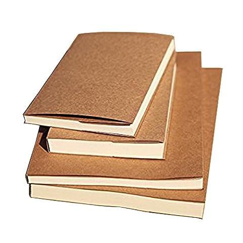 Gossipboy vintage Kraft Housse ordinateur portable Dessin Scrawl Carnet de notes de voyage Journal croquis Agenda Memo Book avec feuilles de papier vierge 56/112pages, Papier, Papier blanc, 16K