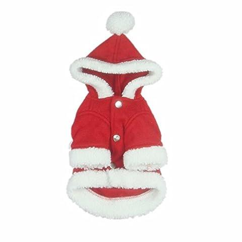 Chien Chat Manteau à Capuche Costume de Père Noël Vêtement D'hiver d'Animal - XXL