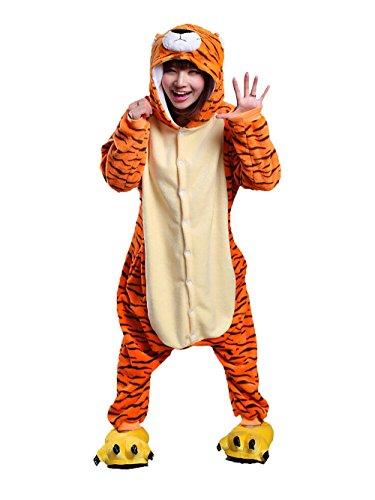Mystery&Melody Unisex Tiger Pyjama Overall Pyjama Nachtwäsche Halloween Weihnachten Karneval Party Cosplay Kostüme für Erwachsene Tiger-overall