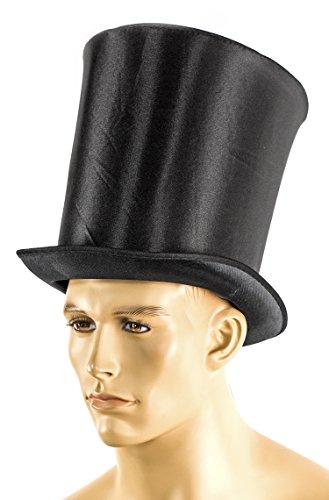 XXL Zylinder Schwarz Edel 24cm Einheitsgröße mit Band Erwachsenen-Kostüm Verkleidung Kauf-Mann Fasching Karneval Abraham Halloween Präsident