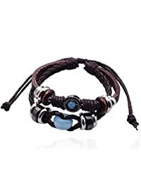 Lureme Azul Cracked Talón Encanto Multi Strand Braided Leather Pulsera for Women Men 06000473-1
