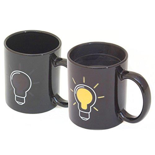 Goods & Gadgets Glühbirnen Tasse mit Thermoeffekt Thermo Kaffeetasse Kaffeebecher mit Wärmeeffekt Farbwechsel