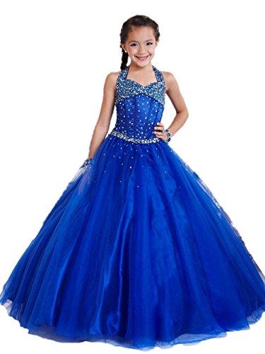 engerla Girl 's Organza Halfter STRASS Prinzessin Ballkleid Party Festzug Kleid, A-Linie, Blau (Pageant Prom Ballkleid)