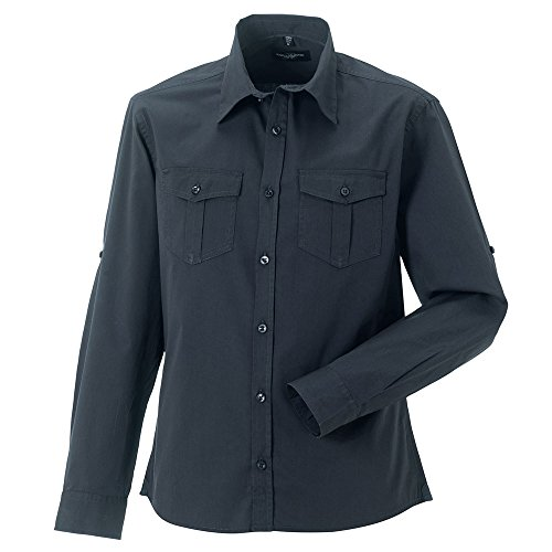 Russell Collection Mens Fit Roll-Sleeve Smart Cotton Work Shirt Long Sleeve Zinc