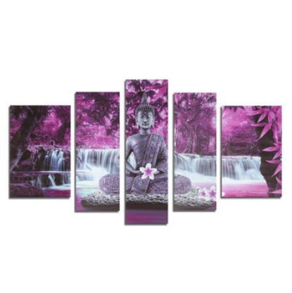 Inovey 5 Stücke Rahmenlose Leinwand Malerei Drucke Buddha Buddhismus Anbetung Bild Kunst Home Wand Dekoration Papier Kunst - Lila