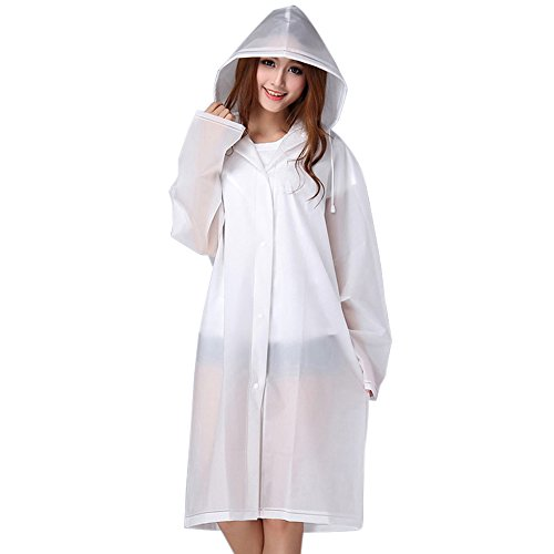 Reusable Waterproof Portable Raincoat, Clear EVA Material| Portable, Light & Compact| Rain Resistant Poncho with Hoods & Sleeves for Travel, Festivals, Theme Parks & Outdoors for Kids & Adults....