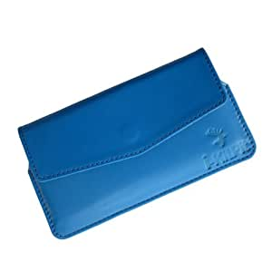i-KitPit : Genuine Leather Pouch Case Cover For Lava Xolo q1000 / A1000 (SKU BLUE)