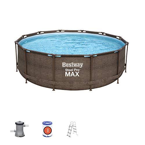 Bestway Steel Pro Max Deluxe Series Framepool-Set, rund, mit Filterpumpe & Sicherheitsleiter 366 x 100 cm Pool, braun
