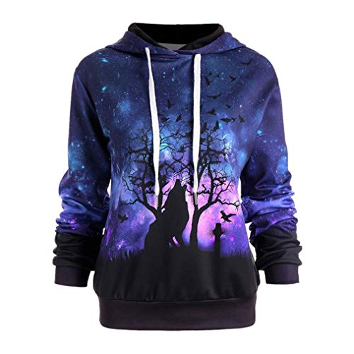 JURTEE Damen Herbst Hooded Wolf Digitales Star Drucken Kapuzenpullover Pullover Halloween Baseball Mäntel Sweats(XX-Large,Lila)