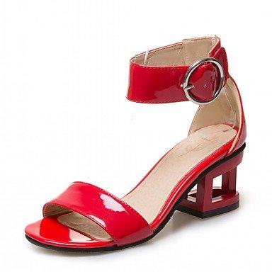 LvYuan Da donna Sandali Finta pelle PU (Poliuretano) Estate Autunno Footing Fibbia Quadrato Bianco Nero Rosso 5 - 7 cm White