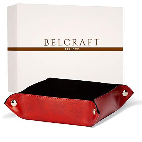 Lari Vaciabolsillos de Piel Italiana Reciclada, Hecho a Mano, Incluye Caja Regalo Especial, Rojo (18x18 cm)