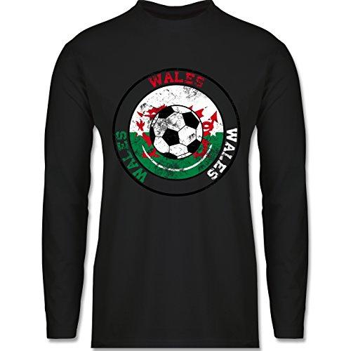 Shirtracer Fußball - Wales Kreis & Fußball Vintage - Herren Langarmshirt Schwarz