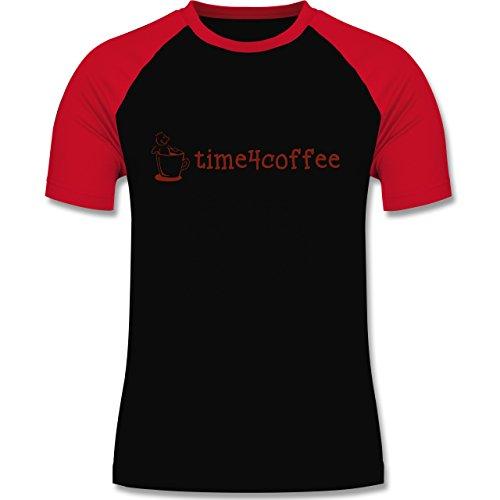 Küche - Time4Coffee - zweifarbiges Baseballshirt für Männer Schwarz/Rot