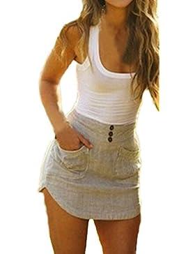 43e88d5f7ee5 Donna Eleganti Vestiti Da Giorno Senza Maniche Estivi Gilet Corto Con Tasca  Slinky Partito Giuntura Abito