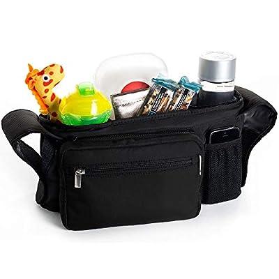 Organizador portátil para cochecito de bebé, organizador de cochecito – soporte para tazas aisladas, consola de viaje, para padres de viaje, almacena botellas, llaves, pañales, teléfono móvil, cartera – bolsa organizadora multifunción para Graco evo XT