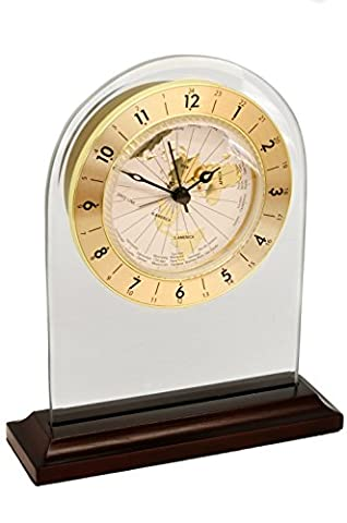 Personalised Glass Arched Mantel Clock with 24 Hour World Dial Display, Laser Engraved
