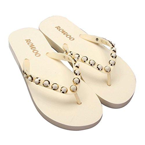 Chaussons Pantoufles Anti-Dérapantes d'été pour Femmes Tongs à la Mode Rivets Plats