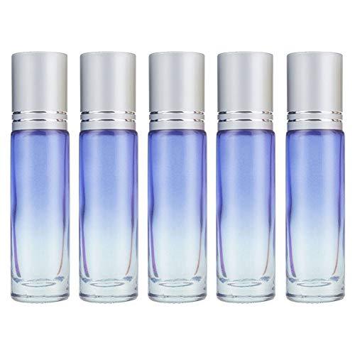 5x Chytaii Flacon Roller Vide pour Parfum Huile Essentielle Bouteille de Distributeur en Verre Dégradé avec Bille d'Acier Voyage Avion Conteneur Rechargeable Eau Maquillage Roller 10 ml