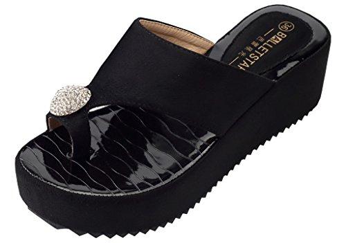 AgeeMi Shoes Damen Diamant Beach Rund Offener Zehe Nubuk Keilabsatz Sandalen,EuL14 Schwarz 39 (Diamant-damen Jeans)