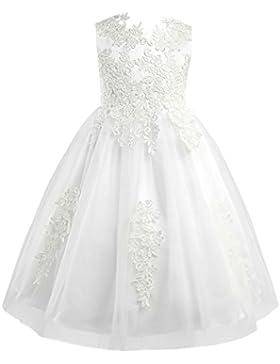 CHICTRY Mädchen Festlich Kleid Prinzessin Hochzeits Festzug Weiß Kleid Blumenmädchenkleid Tüll Kleidung Kommunionkleid...