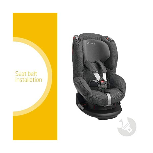 Maxi-Cosi Tobi Toddler Car Seat Group 1, Forward-Facing Reclining Car Seat, 9 Months-4 Years, 9-18 kg, Sparkling Grey Maxi-Cosi Toddler car seat suitable for children from 9 to 18 kg (approximately 9 months to 4 years) Install theMaxi-Cosi Tobi car seatusing the car's seat belt and the integrated belt tensioner ensures a solid fit Spring-loaded, stay open harness to make buckling up your toddler easier as the harness stays out of the way 2