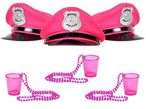 Alsino Party JGA Junggesellinnenabschied Set für Damen - 3X Polizeimütze & 3X Shotbecher zum umhängen - Farbe: Pink