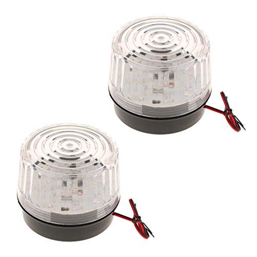 MagiDeal 2 Stücke LED Warnlampen Strobe Warnleuchte Achtung Blinklicht Verkehrsalarm Warnblinkleuchte Signallampe -Weiß
