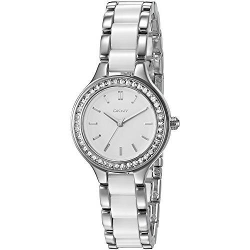 DKNY Women's 30mm Silver-Tone Ceramic Band Steel Case Quartz White Dial Analog Watch NY2494
