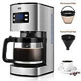Kaffeemaschine KYG Filter-Kaffeemaschine mit Timer-Funktion 1,8 Liter Glaskanne 1000 Watt schwarz/edelstahl MEHRWEG