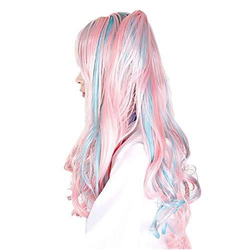 DOGZI Perücke Kostüm Langhaar Haarnetz, Bunte Schöne Lange Cosplay Volle Vordere Haar Mädchen Gelockte Synthetische Perücke