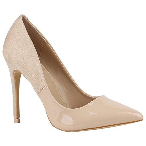 Spitze Damen Schuhe Pumps High Heels Lack Stilettos 156090 Creme Lack Velours 37 Flandell