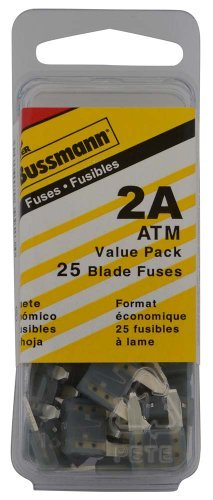 Bussmann (VP/ATM-2-RP) Yellow 2 Amp Fast Acting ATM Mini Fuse, (Pack of 25) by Bussmann 2 Amp Bussmann Fuse