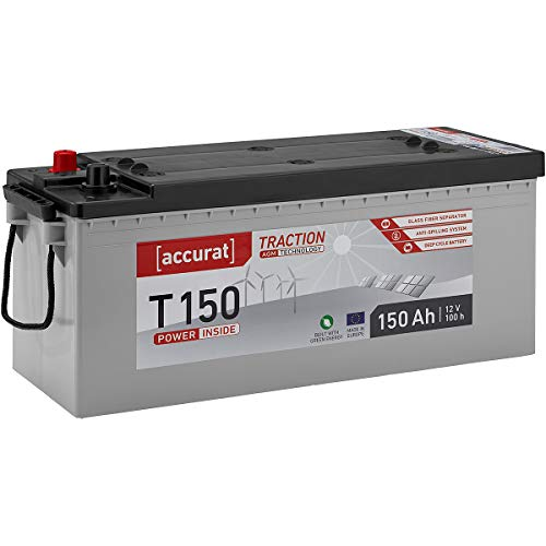 Accurat AGM 12V Solarbatterie 150Ah Batterie Wartungsfrei in 6 Varianten