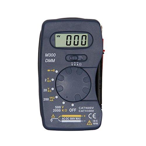 Autoange - Multímetro de pantalla digital de 12 V con mini comprobador de bolsillo (amperímetro portátil), color negro