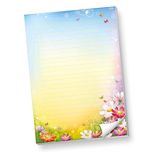 Schreibblöcke DIN A4 Liniert Florentina 2 BLÖCKE Briefpapier-Block Bunte Blumen