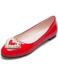 OL Flat Loafers Decoración de perlas artificiales en forma de almendra Simple Casual Sandalias UE tamaño personalizado 31-47 , red , 33 (not returned)