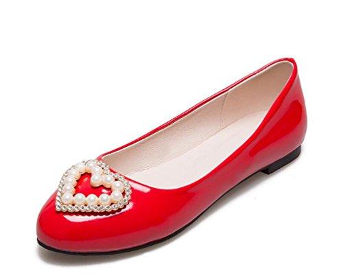 Decorazione perla artificiale di mocassini di OL della piattaforma di modo della mandorla Sandali semplici casuali UE misura su misura 31-47 Red