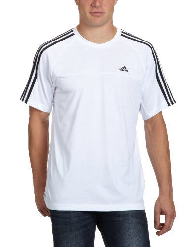 adidas Herren T-Shirt Essentials 3-Stripes Crew, White/Black, XL, X19207 (Tonale Streifen T-shirt)