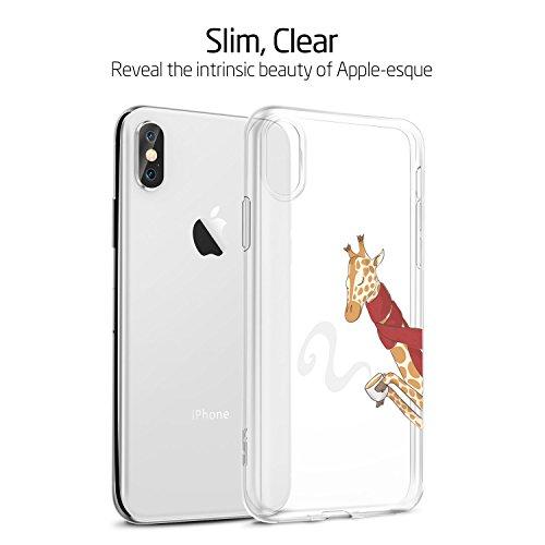 ESR iPhone X Hülle [Kabelloses Aufladen Unterstützung], Transparent [Weich Silikon][Ultra Dünn] mit süßes Motiv SchutzHülle [Kabelloses Aufladen Unterstützung] für Apple iPhone X / iPhone 10 5.8 Zoll  Giraffe