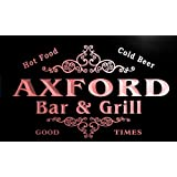 u01722-r AXFORD Family Name Bar & Grill Cold Beer Neon Light Sign Barlicht Neonlicht Lichtwerbung
