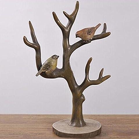 LQK-Résine de bijoux country américain maison de l'artisanat créatif ornements deux bijoux arbre de direction de la station , 21.5*11.8*33cm