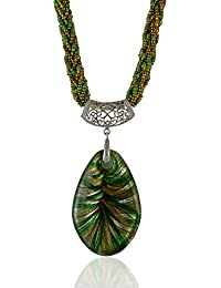 Sarah Tribal Beaded Long Necklace Pendant Necklace For Women - Green