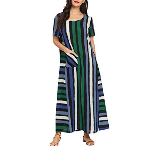 MCYs Frauen Baumwolle Leinen Gestreifte Farbe Potchwork Kurzarm Lose Plus Size Kleid 1560 Loses, Farblich Abgestimmtes, Kurzärmliges Kleid Aus Baumwolle Und Leinen In Übergröße