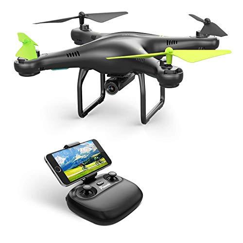Función de estabilización de altitud:La función del estabilización de altitud puede mantener el drone en diferentes alturas que te puedan interesar. Esto te permitirá disfrutartar más de las vistas por pantalla, y no tiene que vigilar el drone para c...