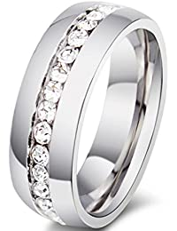 Gudeke Anillo de diamantes de la boda única fila de perforación del anillo del cristal