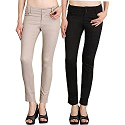 NGT Womens Formal Beige And Black Trouser in Special Quality.