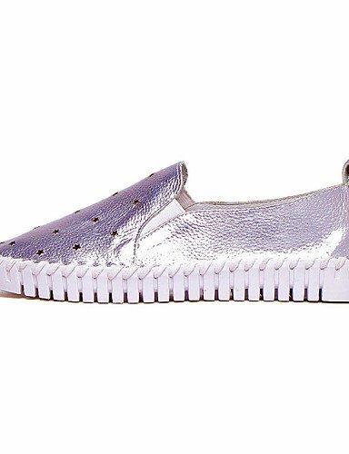 Chaussures Femme Shangyi - Mocassins - Décontractés - Creepers / Confortable / Bout Arrondi - Plateau - Cuir - Blanc / Argenté